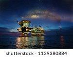 offshore construction platform... | Shutterstock . vector #1129380884