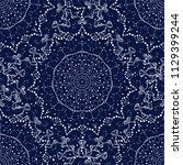 seamless pattern with cosmic... | Shutterstock .eps vector #1129399244