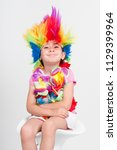 funny beautiful party little... | Shutterstock . vector #1129399964
