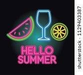 hello summer logo with neon... | Shutterstock .eps vector #1129403387