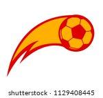soccer ball in fire  hot... | Shutterstock .eps vector #1129408445