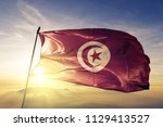 tunisia national flag textile... | Shutterstock . vector #1129413527