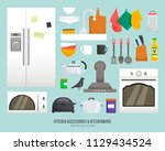 kitchen accessories.... | Shutterstock .eps vector #1129434524