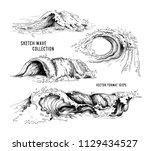 sea waves handdrawn sketch....   Shutterstock .eps vector #1129434527