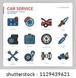 car service icon set | Shutterstock .eps vector #1129439621