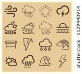 set of 16 weather outline icons ... | Shutterstock .eps vector #1129440914