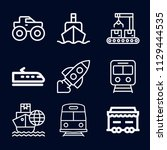 transport icon set   outline... | Shutterstock .eps vector #1129444535
