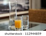 glass of orange juice in good... | Shutterstock . vector #112944859
