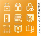 security icon set   outline... | Shutterstock .eps vector #1129449737