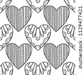 decorative hearts. black and... | Shutterstock .eps vector #1129477421
