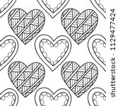 decorative hearts. black and... | Shutterstock .eps vector #1129477424