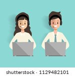 call center character with... | Shutterstock .eps vector #1129482101
