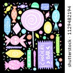 linocut style sweets and candy... | Shutterstock .eps vector #1129482194