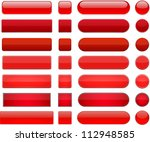 Set Of Blank Red Buttons For...