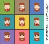 avatar hipster face expresion | Shutterstock .eps vector #1129486034
