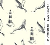 sea travel vintage illustration.... | Shutterstock .eps vector #1129486964