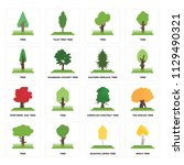 set of 16 icons such as birch...