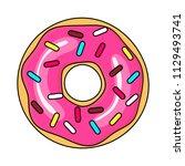 donut with pink glaze. donut...   Shutterstock .eps vector #1129493741
