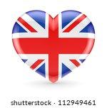 british flag on a heart symbol... | Shutterstock . vector #112949461