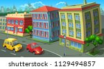 street of town with colored... | Shutterstock .eps vector #1129494857
