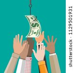 hands trying to get dollar on... | Shutterstock . vector #1129501931