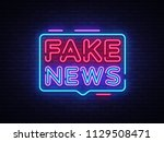 fake news neon sign vector.... | Shutterstock .eps vector #1129508471
