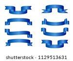 blue glossy ribbon vector... | Shutterstock .eps vector #1129513631