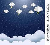 rain and storm on night sky... | Shutterstock .eps vector #1129516607