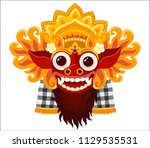 barong balinese god vector mask ... | Shutterstock .eps vector #1129535531