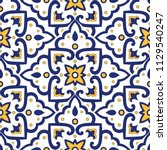 mexican tile pattern vector...   Shutterstock .eps vector #1129540247