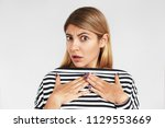 isolated portrait of astonished ...   Shutterstock . vector #1129553669