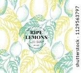 lemon tree seamless pattern.... | Shutterstock .eps vector #1129563797