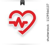 red heart icon with sign... | Shutterstock .eps vector #1129566137