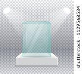 empty transparent glass box on... | Shutterstock .eps vector #1129568534