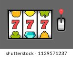 slot machine. flat style.... | Shutterstock .eps vector #1129571237