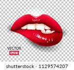 sexy red lips isolated on... | Shutterstock .eps vector #1129574207