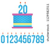happy birthday cake with lit... | Shutterstock .eps vector #1129582511