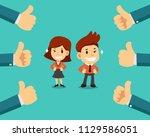 vector cartoon happy... | Shutterstock .eps vector #1129586051