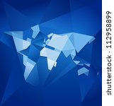 Abstract Blue Facet World Map...