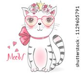 Stock vector hand drawn beautiful cute little girl kitty with flowers vector illustration 1129605791