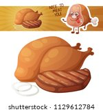 grilled chicken and meat icon.... | Shutterstock .eps vector #1129612784
