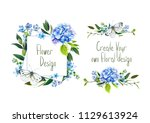 set with illustration of  blue... | Shutterstock . vector #1129613924