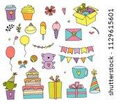 happy birthday color doodle set.... | Shutterstock .eps vector #1129615601