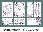 floral vintage cards set for... | Shutterstock .eps vector #1129627754