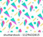 memphis seamless pattern.... | Shutterstock .eps vector #1129632815