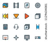 multimedia icons colored line...   Shutterstock .eps vector #1129634081