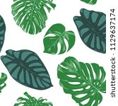 seamless hand drawn botanical... | Shutterstock .eps vector #1129637174