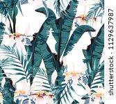 tropic summer painting seamless ... | Shutterstock .eps vector #1129637987