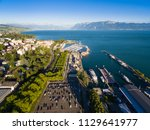 aerial view of ouchy waterfront ... | Shutterstock . vector #1129641977