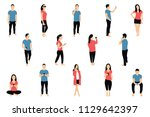 crowd of people with... | Shutterstock .eps vector #1129642397